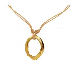 Gold plated deformed hoop pendant