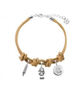Leather bracelet with Slim...