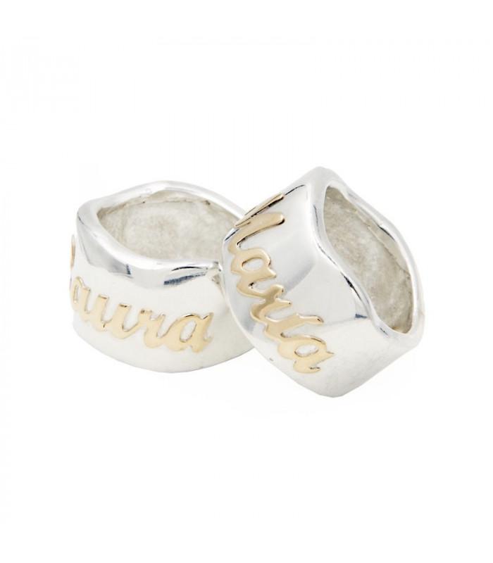 anillo personalizado con nombre en oro