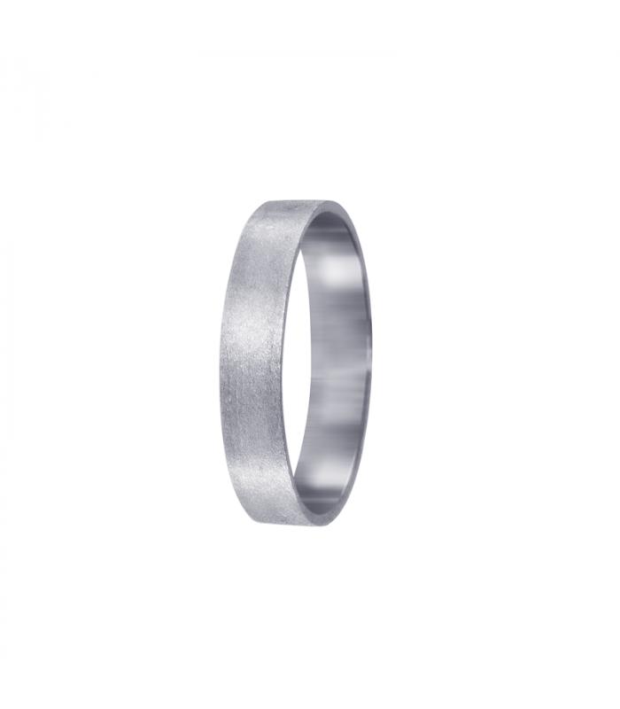 Flat wedding ring white gold.