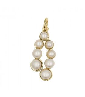 Colgante perlas dorado