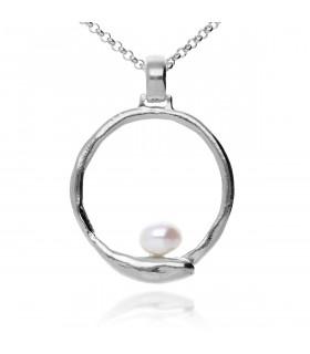 Colgante sirena perla y plata