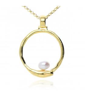Colgante dorado perla