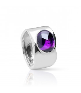 Silver Amethyst Oval Stone Ring