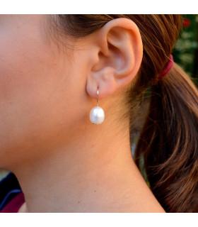 Pendiente oro con perlas