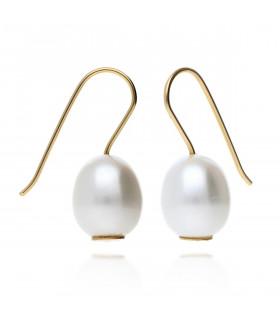 Pendientes perla liso colgante