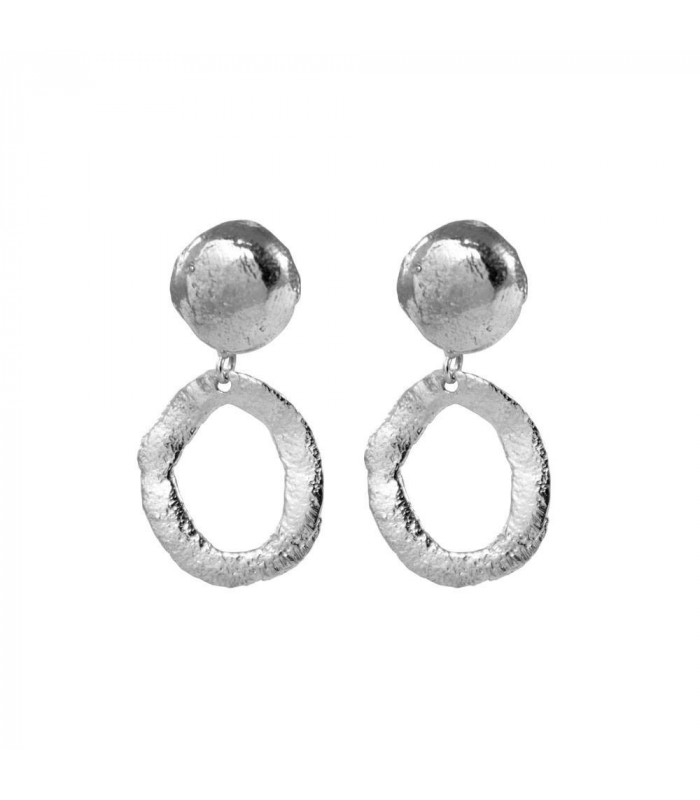 Silver wax circle earring