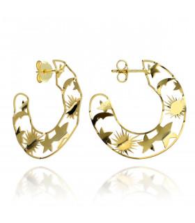 Silver universe earring