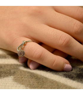 Personalized silver initial ring
