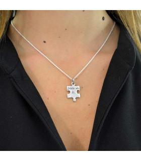 Personalized silver puzzle pendant