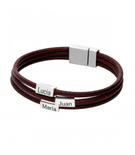 Leather bracelet with names