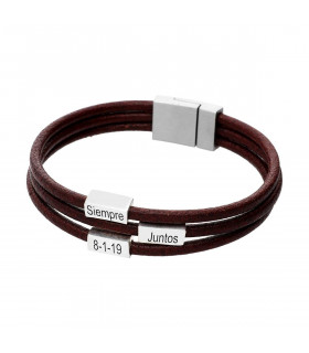 Silver and leather bracelet with names