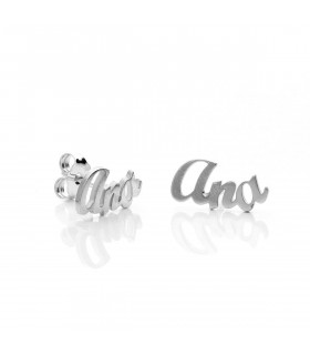 Silver name earrings