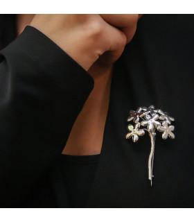 Silver biznaga malagueño brooch