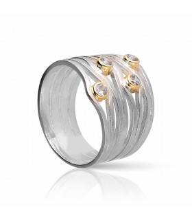 Anillo de plata y oro con circonitas