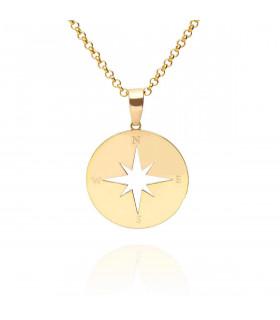 Gold wind rose pendant