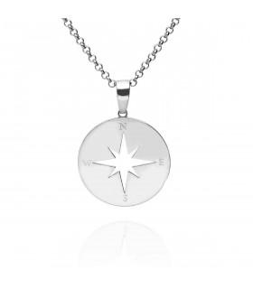 Silver wind rose pendant