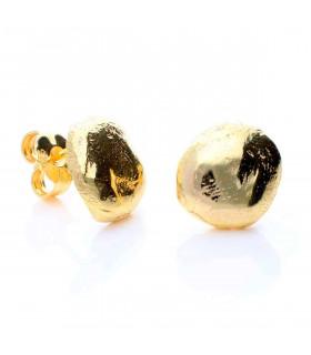 Gold button earrings silver