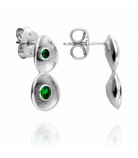 Green lily silver earring