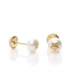 Pendientes bebe perlas estrella