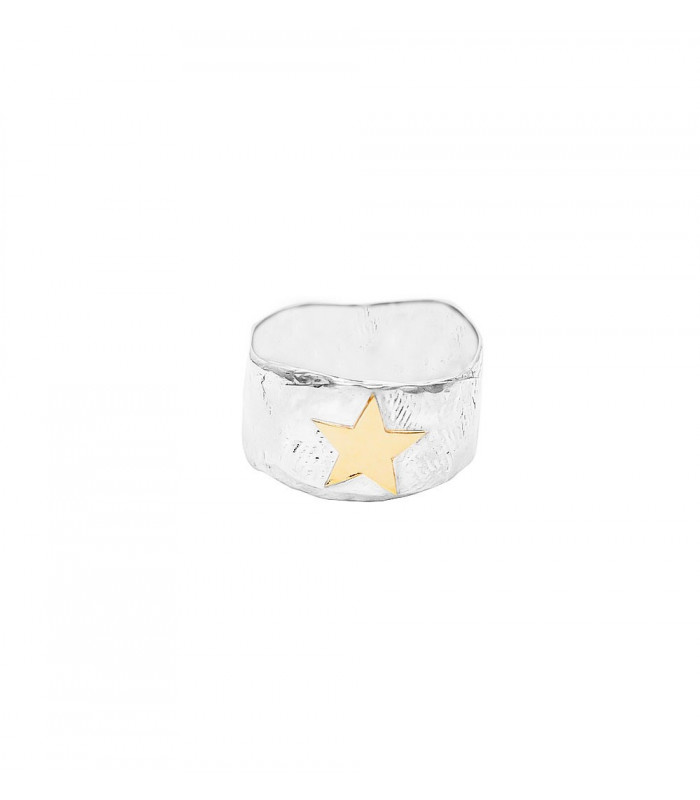 Gold star silver ring