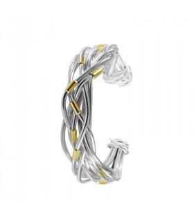 Pulsera nudo cruzado hilos con plata y oro