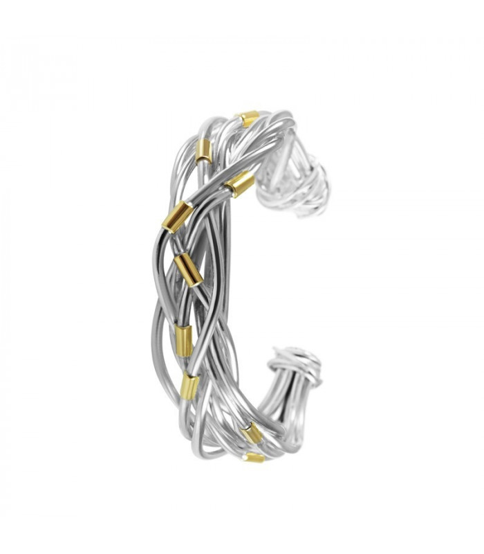 Cross knot bracelet with silver and gold threads