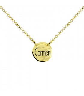 Gargantilla medalla con nombre dorada