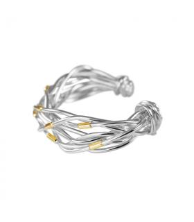 Brazalete hilos de plata y oro