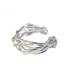 Silver and gold threads bracelet