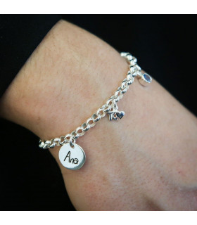 Silver bracelet I love you with name