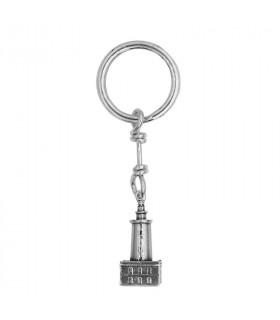 La Farola de Málaga Silver Keychain