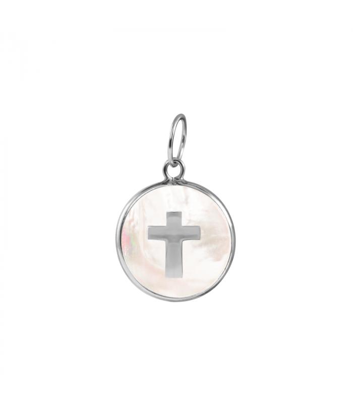 Colgante nácar cruz en plata