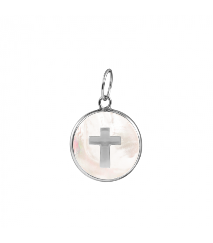 Mother of pearl cross pendant in silver