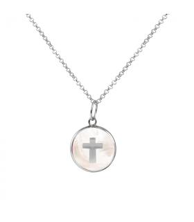 Collar plata cruz y nácar