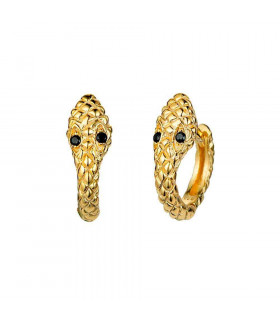 Golden snake hoop earrings