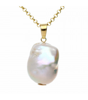 Baroque Pearl Pendant in Gold