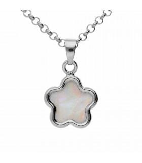 Silver nacre jasmine pendant