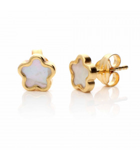 Gold Jasmine Earrings with Mother of Pearl