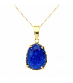 Colgante azul en plata chapada en oro
