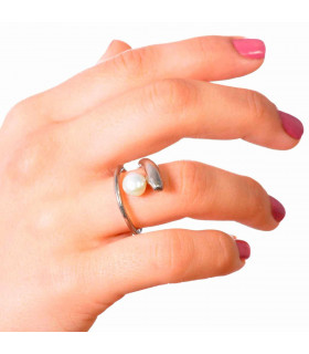 Sirena ring silver beads