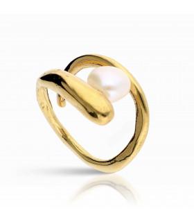 Anillo dorado perla Sirena