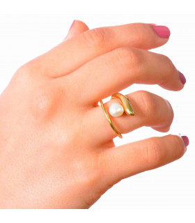 Sirena ring gilded silver beads