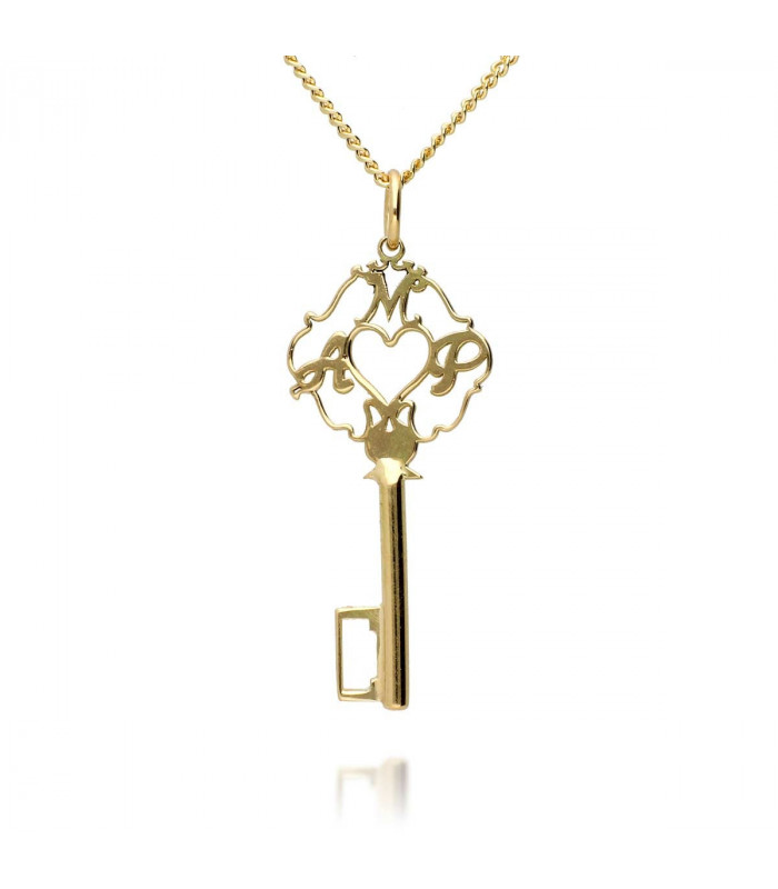Personalized key in sterling gold