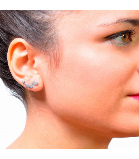 Silver earrings with silver circle