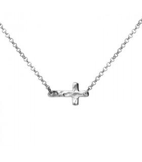 Gargantilla cruz plata
