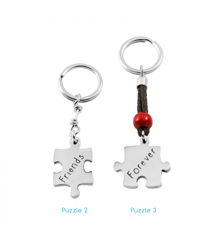 Puzzle keychain in sterling silver