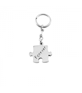 Personalized puzzle keychain in sterling silver