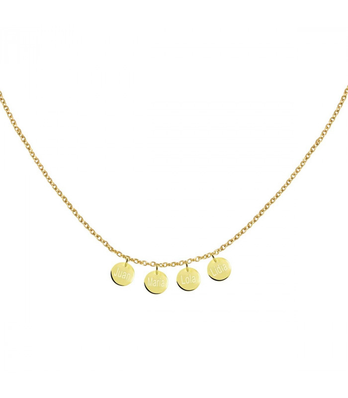 Gold necklace with personalized medals