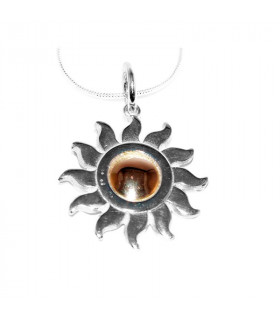 Sun god pendant in silver and gold